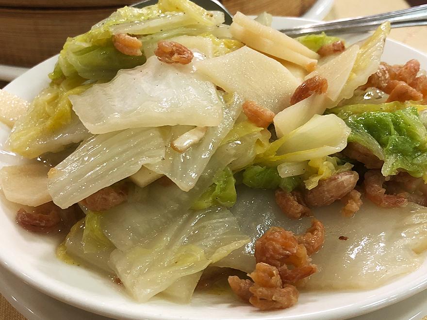 台湾 台中 沁園春 茹で白菜とエビ
