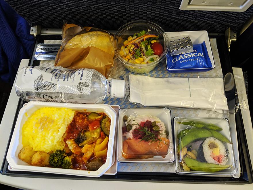 ニューヨーク旅行 羽田空港 全日空 機内食